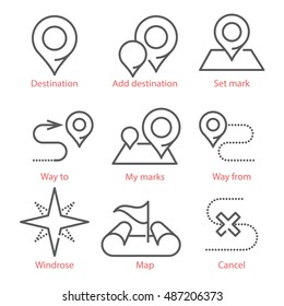 Vector thin line icons set with GPS, navigation, way pints and POS. For infographics, UX UI lit and wed design.