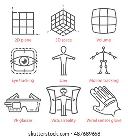 Vector thin line icons set with augmented and virtual reality symbols, equipment and tools. For infographics, UX UI kit, web design and more