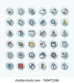 Vector thin line icons set and graphic design elements. Illustration with big data and analytics technology outline symbols. Bigdata, database, seo, server, information security flat color pictogram
