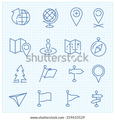 Vector thin line icons set for web design and user interface in applications made in flat graphic style. Nice detail and easily identifiable. Ideal for clean design.