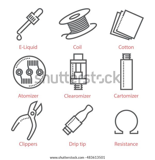 Vector thin line icons set with vaping accessories and equipment for infographics and UX UI kit