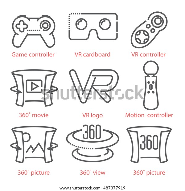 Vector thin line icons set with Virtual Reality equipment and signs for infographics, UX UI kit, web design and more.