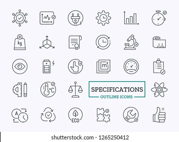 Vector Thin Line Icons of Specifications. Technology properties of Device. Technical Settings Signs for Website