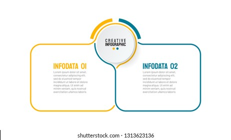 Vector thin line infographic template. Business concept with 2 option. Can be used for workflow layout, diagram, annual report, web design, presentation.