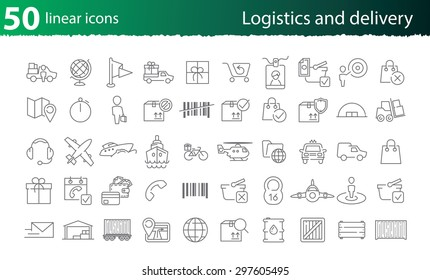 Vector thin line logistics and delivery set for web design or infographics and applications