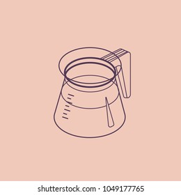 Vector thin line sketch illustration with 3D coffee pot. Coffee container in isometric flat style. Vector illustration