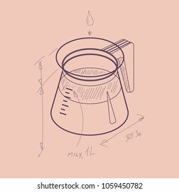 Vector thin line sketch illustration with 3D coffee pot. Coffee container in isometric drawing sketch flat style. Vector illustration
