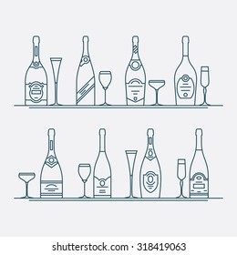 Vector thin line wine bottles and glasses design elements | Sparkling champagne bottles in trendy linear style. Ideal for restaurant and wine shop package and branding design