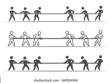 Vector thin linear tug of war logo and icon. Line figures people.