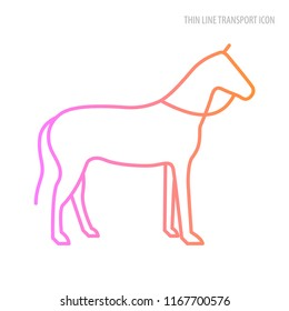 Vector thine line transport icon. The horse is painted with a thin color line.