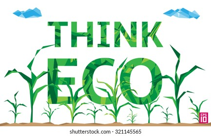 Vector think eco illustration with growing corn (maize).