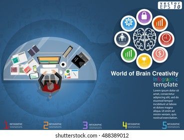 Vector Thinking jobs World of Brain Creativity Business modern Idea and Concept illustration Infographic template