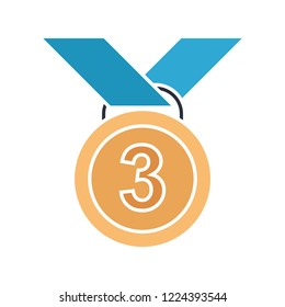 vector third place medal icon. Flat illustration of 3rd. award medal isolated on white background. sport competition success sign symbol - prize icon