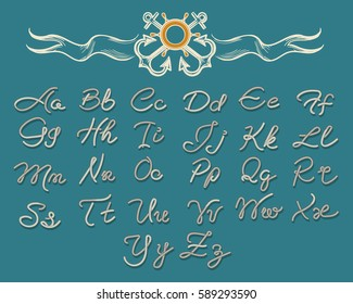 Vector thread rope letters font and nautical vintage silhouette elements for navy sea design