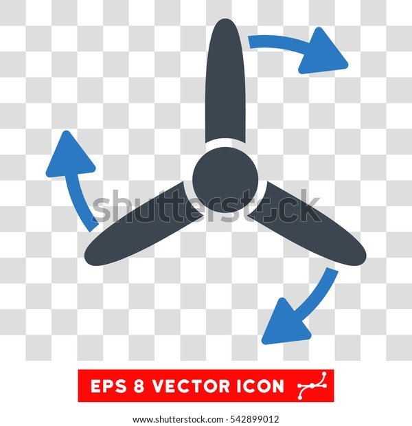 Vector Three Bladed Screw Rotation EPS vector pictogram. Illustration style is flat iconic bicolor smooth blue symbol on a transparent background.