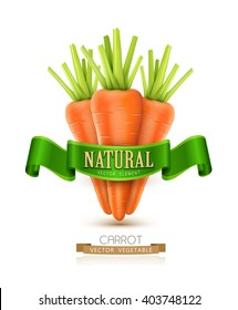 vector three carrots isolated on white background with green ribbon