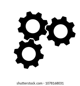 Vector of three cog, gear, icon, black on background
