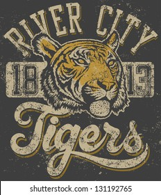 "Vector three color retro ""Tigers"" athletic design complete with tiger head mascot illustration, vintage athletic fonts (designed by myself) and matching textures (all on separate layers, of course)."