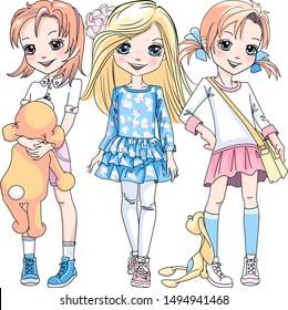 Vektor Drei süße Blond- und Rotkopfmädchen in Kleider, Hosen und Turnschuhen