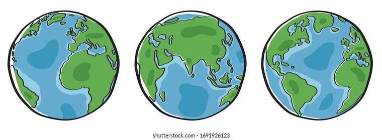 Vector of three Earth isolated on white background. Free Hand drawn style.