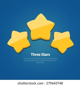 Vector three golden stars icon. May use as achievement rating  template