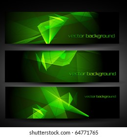 vector three green abstract eps10 banner set one