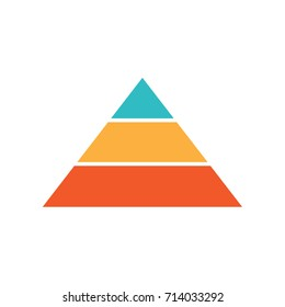 Vector three level pyramid. Triangle with 3 colors and 3 sections.