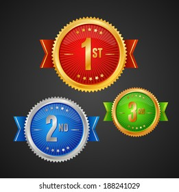 Vector three Medals on dark background template.