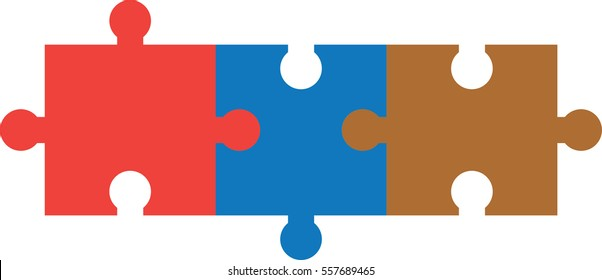 Vector three pieces of connected puzzle or jigsaw.