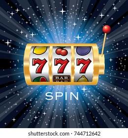 vector three seven jackpot on golden slot machine, gambling background on starry night