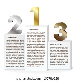 Vector three steps infographic template with gold, silver and bronze numbers./Three steps infographics