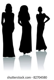 vector three women silhouettes with reflection