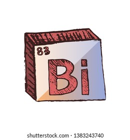Vector three-dimensional hand drawn chemical symbol of heavy metal bismuth with rainbow shades with an abbreviation Bi from the periodic table of the elements isolated on a white background.