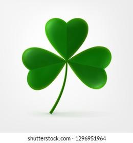 Vector three-leaf clover trefoil. Happy Three Leaf Symbol of St. Patrick's Irish Festival