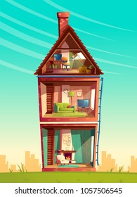 Vector three-story house interior cross section, cartoon multistorey private building with telescope at the attic, furniture and living room with fireplace, sofa, TV. Architecture background