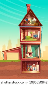 Vector three-story house interior in cross section with basement and garage. Cartoon multistorey private building. Attic, furniture in living room, sofa, TV, laundry in cellar. Architecture background