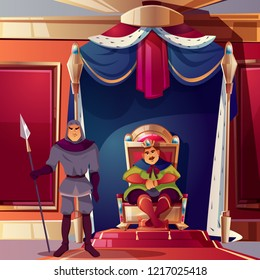 Vector throne room with king and his severe guard. Background with castle hall, royal canopy with fur. Interior of ballroom with armed security. Luxury medieval palace for game backdrop.