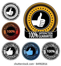 Vector thumb up satisfaction guarantee label