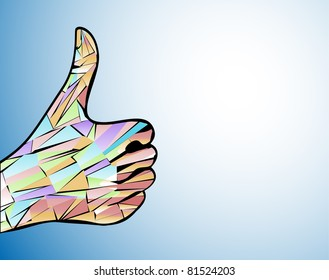 vector thumb up satisfaction guaranteed mosaic. The mosaic multicolored hand speaking in a sign language - all is healthy. Vector fantasy illustration.