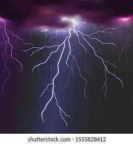 Vector thunder background with lightning.