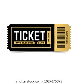 Vector ticket isolated on white background. Cinema, theater,  concert, movie, performance, party, event festival black and gold ticket realistic template.