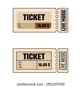 vector ticket in vintage style. design for ticket music or movie. editable vector