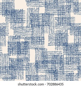 Vector tie dye seamless pattern. Hand drawn shibori print. Ink textured japanese background. Modern batik wallpaper tile. Watercolor indigo endless backdrop. Blue and white watercolour design.