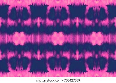 Vector tie dye seamless pattern. Hand drawn shibori print. Ink textured japanese background. Modern batik wallpaper tile. Watercolor endless backdrop.