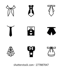 Vector Tie icon set on white background