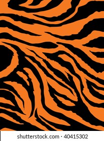 Vector tiger black and orange stripped
