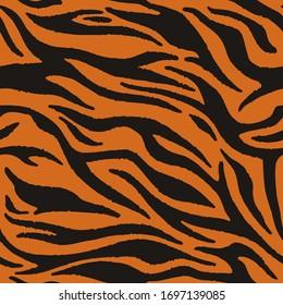 Vector tiger fur, orange stripes pattern. Animal skin print, seamless texture. Safari repeating background.