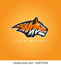 Vector tiger head sports logo illustration. Mascot, T-shirt, sticker, label design.