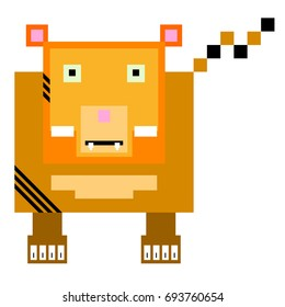 Vector tiger are made of squares and rectangles