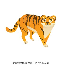 Vector tiger in the motion. Orange wild cute cat.